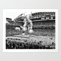 seahawks Art Prints featuring Seattle Seahawks, CenturyLink Field by SefoG