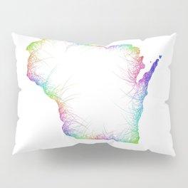 Rainbow Wisconsin map Pillow Sham