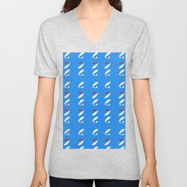 Abstract Petals White Blue #pattern #design #style #home #decor #kirovair Unisex V-Neck