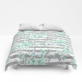 MINT FLORAL GRAY STRIPES SPRING Comforters