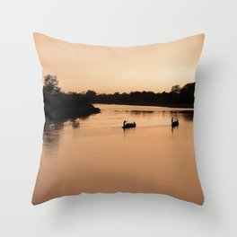 Canoes at Sunset in Chitwan, Nepal Throw Pillow
