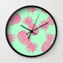 Pineapple Pattern - Mint & Crimson Wall Clock