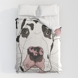 Great Dane Dog (b/w/pink) Comforters