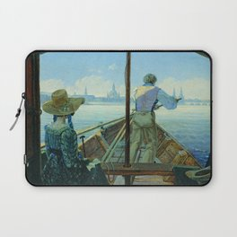 Carl Gustav Carus - Barge Trip on the Elbe near Dresden (Morning on the Elbe) Laptop Sleeve