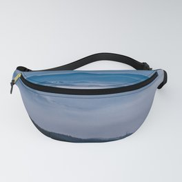 Misty winter Christmas morning over the mountain top Fanny Pack