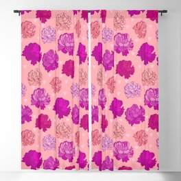 Romantic Pink Peonies Blackout Curtain