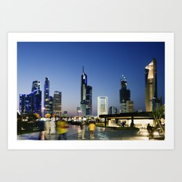Kuwait City Skyline blur Art Print