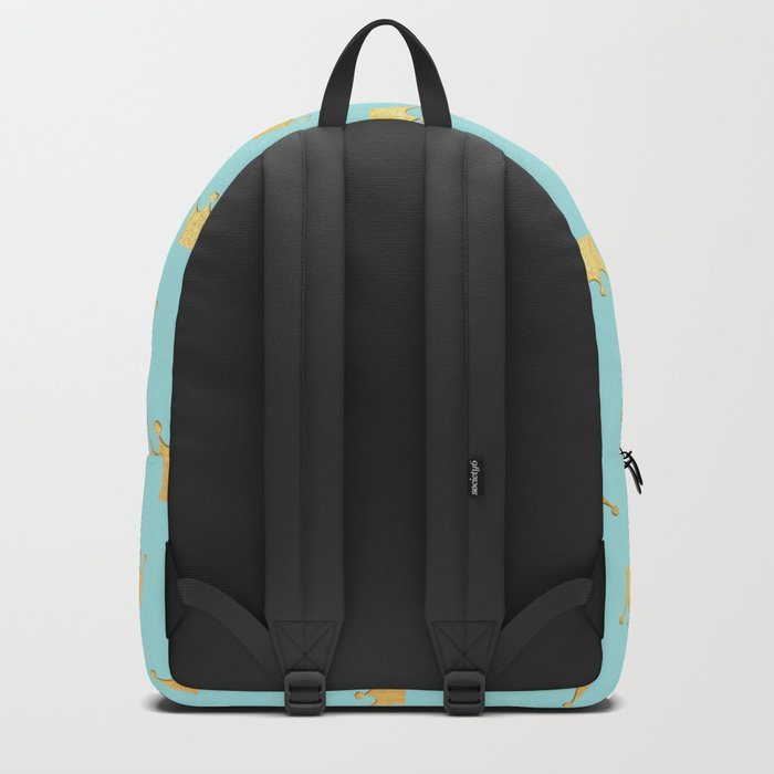 Gold Glitter effect crowns on aqua - Heraldy Pattern for Princesses on #Society6 Backpack