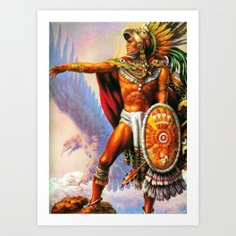 Caballero Aztec Warrior and Eagle Animal Spirit by Jesus Helguera Art Print