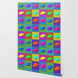 Multicolored lips in Pop Art style Wallpaper