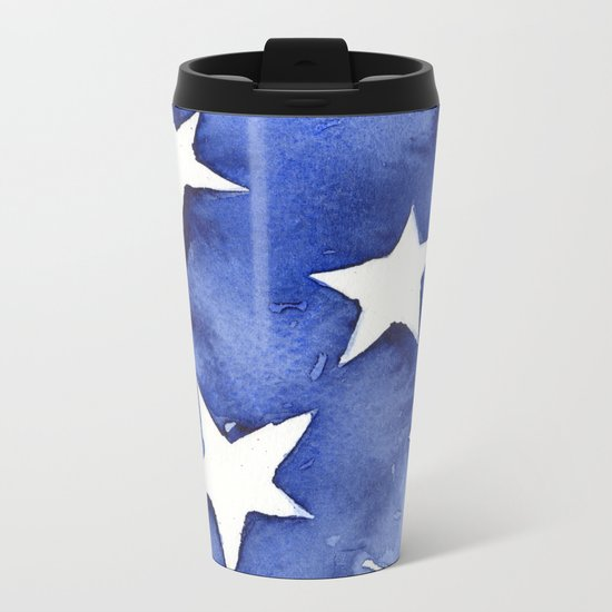 Stars Abstract Blue Watercolor Geometric Painting Metal Travel Mug
