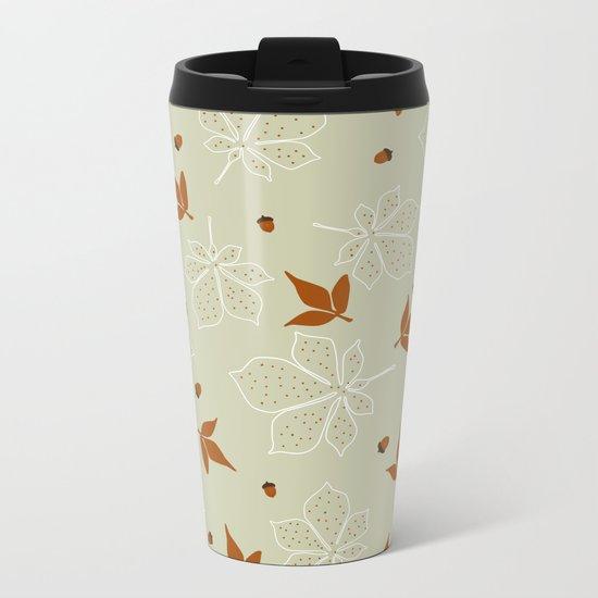 Autumn Leaves Pattern Metal Travel Mug