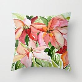 Pink Poinsettias Throw Pillow