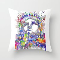 new york Throw Pillows featuring New York New York by Bekim ART