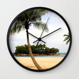 Palm Tree on a Sandy Beach Wall Clock