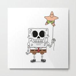 Spongebob Skull Metal Print