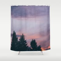 montana Shower Curtains featuring Montana Sunsets by Kenna Allison