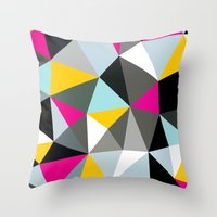 comic book Throw Pillows featuring Comic Book Tris by Beth Thompson
