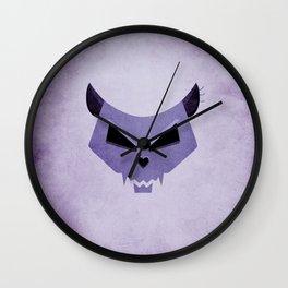 Purple Funny Evil Cat Skull Wall Clock