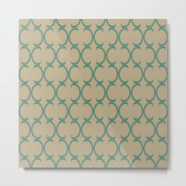 Turquoise Fancy Moroccan Lattice on Tan Metal Print