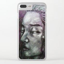 Junie (Grey Portrait) Clear iPhone Case