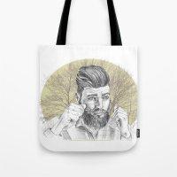 beard Tote Bags featuring beard by mirart