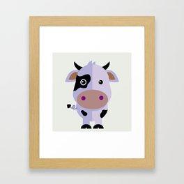 Purple cow by Leslie harlo Framed Art Print