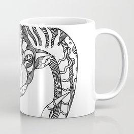 Argali Mountain Sheep Head Doodle Art Coffee Mug