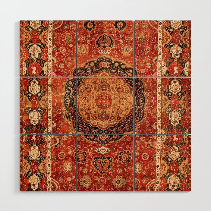 Seley 16th Century Antique Persian Carpet Print Wood Wall