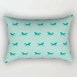 Trotting Arabian Horse Teal Green Horse Lover Rectangular Pillow