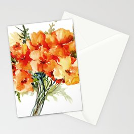 Californian Poppies, California Floral art soft colors Stationery Cards