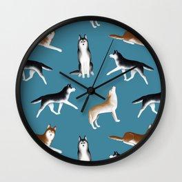 Husky Pattern (Teal Blue Background) Wall Clock
