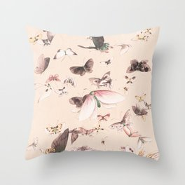Vintage blush pink black watercolor cute butterfly Throw Pillow