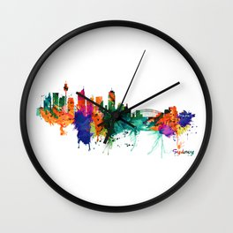 Sydney watercolor skyline Wall Clock