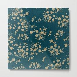 Gold Green Blue Flower Sihlouette Metal Print