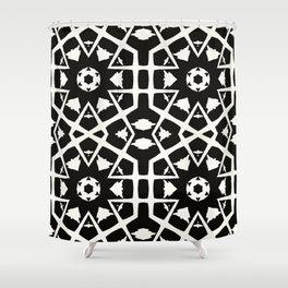 MANTRA - black and white minimal painting abstract art brooklyn trendy mandala street city art work Shower Curtain
