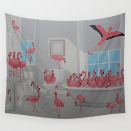 Flamingos In the Bathroom Wall Tapestry