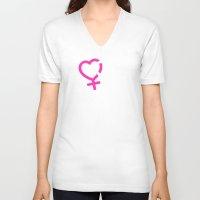 lesbian V-neck T-shirts featuring NO DISCRIMINES LESBIAN SIMBOLS by Piensa Gay