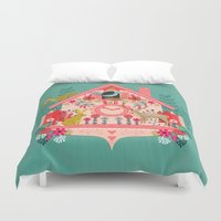 valentines Duvet Covers featuring I'm Cuckoo For You - Valentines Cuckoo Clock  by Andrea Lauren Design