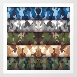 Set camo Cammo military pattern Art Print