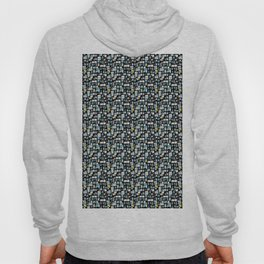 Black, Blue and White Abstract Brick Pattern Hoody