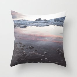 Jokulsarlon Lagoon - Sunset - Landscape and Nature Photography Throw Pillow