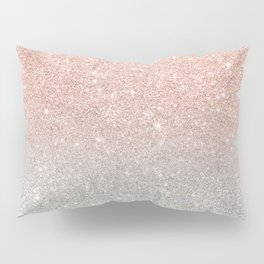 Modern trendy rose gold glitter ombre silver glitter Pillow Sham