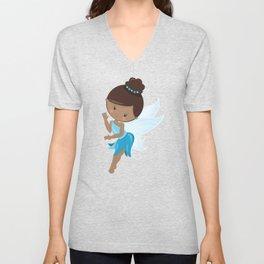 African American Fairy, Fairy In Blue Dress Unisex V-Neck