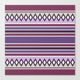 Stripes and diamonds geometric pattern purple Canvas Print