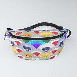 Japanese Wave Pattern cat Rainbow Fanny Pack