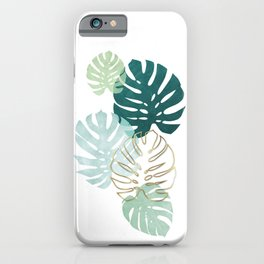 Tropical minimal / green, turquoise and gold monstera iPhone Case