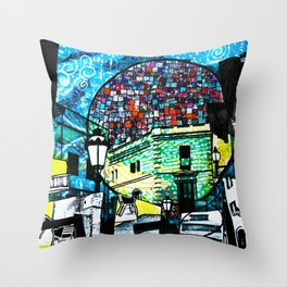 Cafe and Moon Throw Pillow