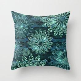 Aqua Green Snowflake Sparkle Throw Pillow