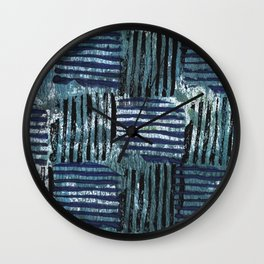 Black blue striped squares abstract painting Wall Clock